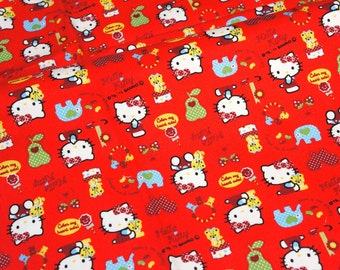 Hello Kitty Fabric   50 cm by 106 cm or 19.6 by 42 inches Half Meter