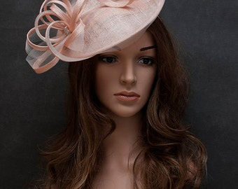 Blush pink elegant saucer hat for your special occasions- European style wedding fascinator