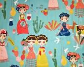 One (1) Yard -Esperanza Frida Kahlo Fabric by Alexander Henry 8426C Aqua Blue
