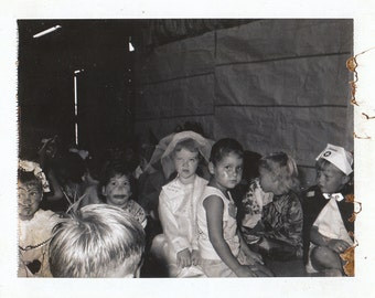 Original Vintage Black & White Polaroid Photograph Snapshot Boys Girls Costumes Make-Up Halloween ? 1960s-70s