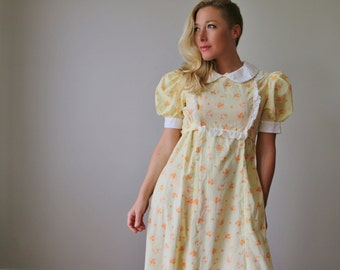 1960s Swiss Marigold Dress~Size Medium