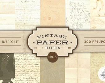 Vintage Paper Textures - No. 5 - Printable Papers  - Digital Scrapbooking - Personal and Commercial Use - Instant Download