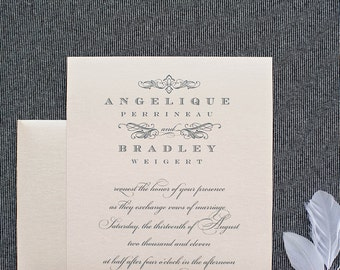 Blush Pink Traditional Vintage Wedding Invitations | Angelique & Bradley