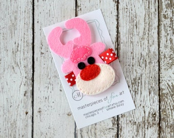 Pink Reindeer Felt Hair Clip - Rudolph the Red Nosed Reindeer Clippies - Christmas Holiday Hair Clips - Winter Hair Bow with Non Slip Grip
