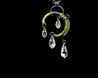Clear Swarovski Crystal Pendant with Peridot Wire Wrapping, Industrial Jewelry, Wire Wrapped Jewelry, Bridal Jewelry, Calypso v5