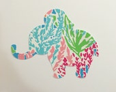 New custom Made To Order Elephant Pillow made with Lilly Pulitzer Lets Cha Cha fabric
