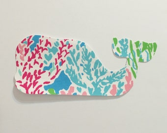 New custom Made To Order Whale Pillow made with Lilly Pulitzer Let's Cha Cha fabric