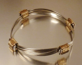 BRACELET 14K & sterling BANGLE Handcrafted wire construction 3+ in diam. Adjustable