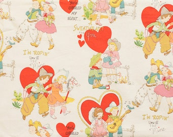 FABRIC VALENTINE'S DAY I'm Roping You'll Be Mine Tea Dyed 1/2 yard
