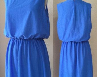 Vintage Electric Blue party Dress. 80's new Wave Cocktail Dress