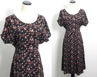 VTG 90's Rosebuds Sundress (Large) Batwing Short Sleeves Empire Waist Scoop Neck Floral Full Tea Length Skirt Dolman Goth Grunge