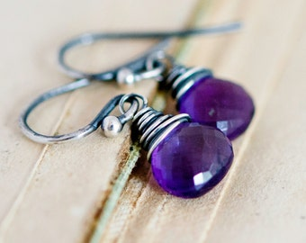 Drop Earrings, Amethyst Earrings, Amethyst Jewelry, February Birthstone, Dangle Earrings, Wire Wrapped, Sterling Silver, Purple, PoleStar