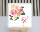Coaster - Fused glass - Hello Gorgeous - watercolor flower in pink