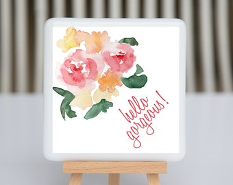 Fused Glass Coaster - Hello Gorgeous - watercolor flower in pink