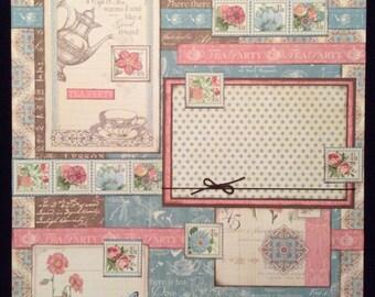 Tea Party, Friendship, Premade 12x12 Single Page Scapbook Layout, Scrapbook Album Page, Graphic 45 Botanical Tea, Floral Layout Page