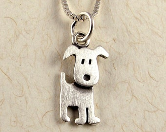Tiny standing puppy necklace / pendant