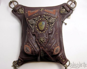 VINTAGE VIBES Brown Leather Shoulder Holster and Hip Bag