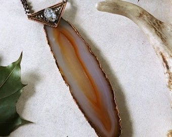 Agate Necklace - Brown Agate Herkimer Quartz Pendant Necklace - Bohemian Agate Pendant with Art Deco Motif - Tryggane Agate Necklace