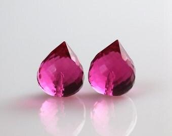 Half Drilled Beads - Pink Quartz - Half Drilled - Pointy Onion Pair