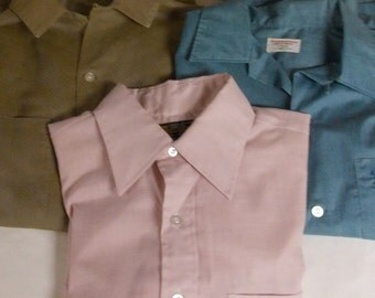 lot of 3 vintage mens shirts Arrow Towncraft JC Penney, cotton and blend button down