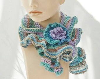 Ruffle Scarf with Flower Scarf Pin, Ready to Ship, Purple Aqua Lace Ruffled Scarf, Hand Crocheted Scarf, Woman's Scarf