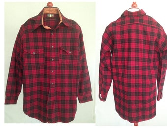 SALE..PENDLETON 1930s Rare Shirt / Red & Black Vintage Plaid Wool Shirt / probably Buckaroo / 15 X 34 / I Ship World Wide, Convo Me