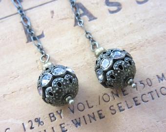 Rhinestone Brass Dangling Earrings