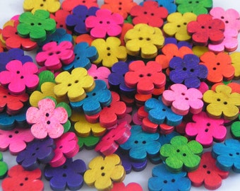 Wooden Flower shaped Buttons mixed colours 19mm x 10 wood button