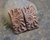 Handmade Copper Ammonite Rectangle Component pair (1 pair)