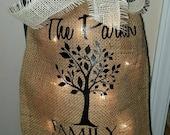 Burlap Print, Family Tree, Home, Light, Burlap Bag, Monogram, Burlap Bag Light, Personalized Burlap, Print, Sign