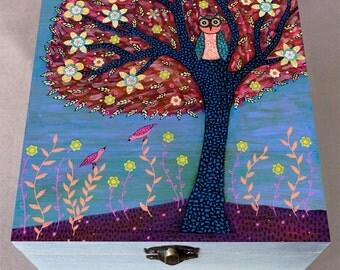 Owl Jewelry Box, Autumn Owl Large Jewelry Box, Wooden Trinket Box