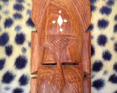 African Carved Wooden Mask with Bone Inlay Wall Hanging