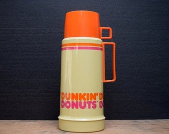 Vintage Dunkin Donuts Thermos, Plastic Coffee Thermos with Cup Lid