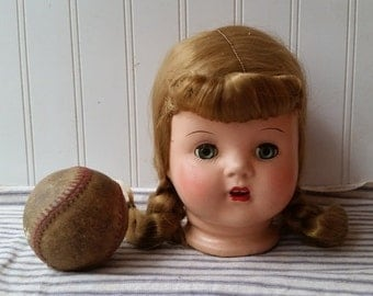 Vintage composition doll head marked blonde wig E25