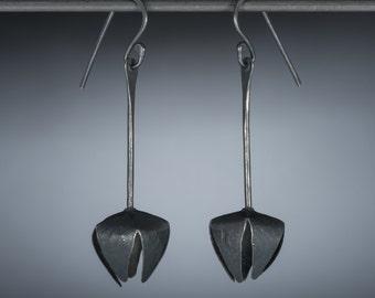 SALE Flower earrings- oxidized sterling silver