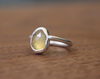 Rose Cut Yellow Sapphire Ring, Sterling Silver
