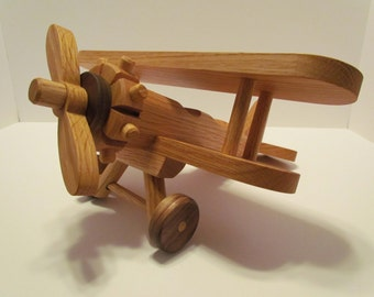 Wooden Airplane Large  Handmade toys   Red  Oak and Mahogany hand finished with all natural Beeswax Ready to ship!