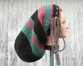 Large Crochet Mega Tam Sock Hat for Long Dreads Dreadlocks - Black with Spruce Green and Mauve - Hats by Mike ©