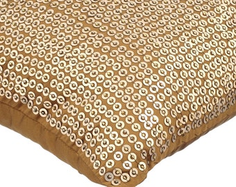 Decorative Throw Pillow Covers Accent Pillow Couch Toss Bed Sofa Pillow 16x16 Gold Brown Taffeta Pillow Cover Sequin Embroidered Gold Illara