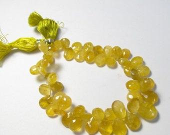 Summer Sale Rare Yellow Aquamarine Heliodor Briolette Beads,  Golden Beryl Briolette Beads