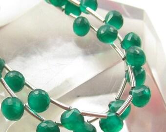 25% Off SALE Emerald Green Quartz  Onion Briolette Beads,  Full Strand 7mm 6mm Satin Faceted
