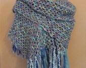 Handmade Shawl, Ladies Wrap, Long Shawl, Blue Shawl, Fringed Shawl,  Crocheted Wrap, Women's Wear, Winter Wear, For Her, Ready to Ship