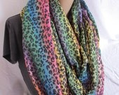 Rainbow Animal Print Cowl/Circle Scarf/Infinity Scarf (5152)