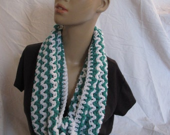 SALE - Jade and White Zig Zag Stripe Infinity Scarf/Cowl (5054)