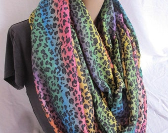 SALE - Rainbow Animal Print Infinity Scarf, Cowl, Fabric Cowl, Loop Scarf, Circle Scarf