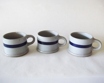 Niels Refsgaard Dansk BLT Blue Stoneware Mugs, Set of 3, Japan 1970s