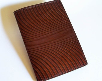 "Leather Journal Cover - Moleskine Notebook Cover - Fits 5"" x 8.25"" Cahiers - Swirl Pattern"