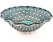 Pottery fruit bowl , fruit bowl , teal blue pottery , modern home decor , turquoise ceramic - In stock FB091B
