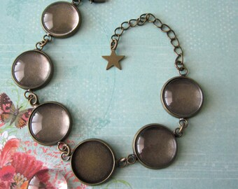 2 Silver or Brass Color Bracelet Blanks With Glass Domes For 18mm or 16mm Cabochon