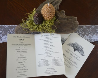 Classic Wedding Program featuring the Candler Oak Tree Drawing
